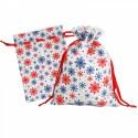 Новогодний подарочный мешок «Снежинки» синие