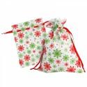 Новогодний подарочный мешок «Снежинки» зеленые