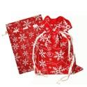 """Подарочный мешок """"Снежинки"""" красный"""