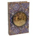 Книга-шкатулка с голубым узором и часами