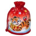 Мешок велюровый красный с тигренком